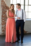 Coral Bow Tie & Coral Bridesmaid's Dress