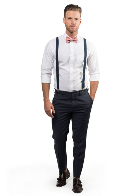 Navy Suspenders & Dusty Rose Bow Tie