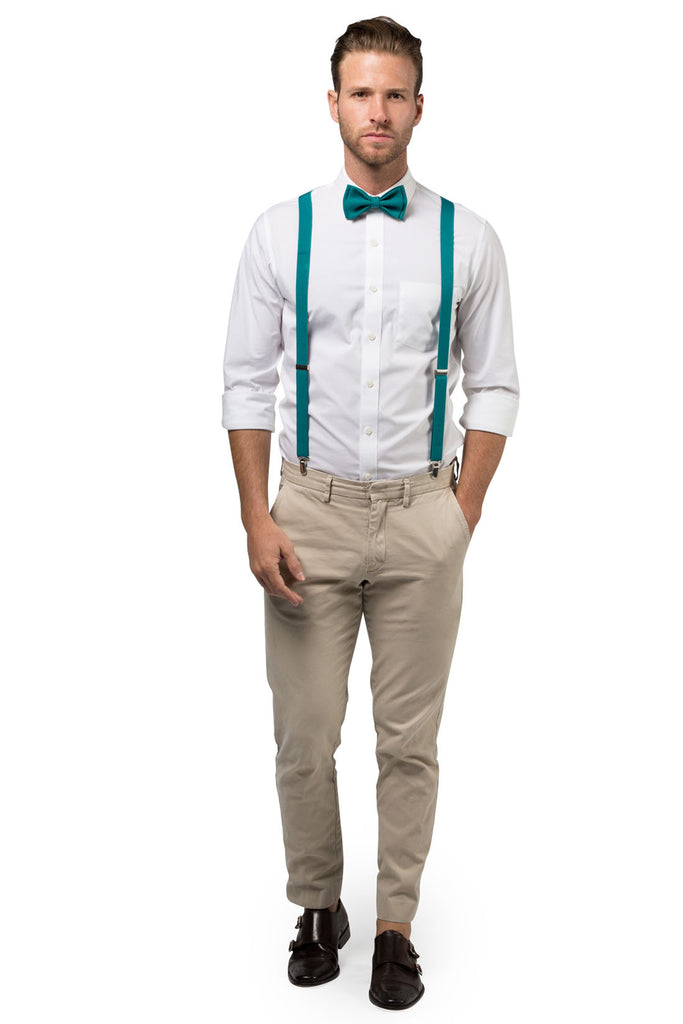 Teal Suspenders & Teal Bow Tie