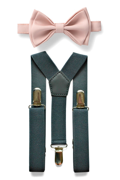 Charcoal Grey Suspenders & Blush Bow Tie