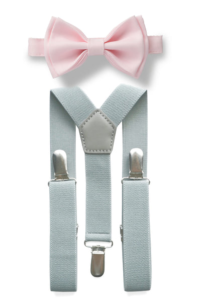 Light Grey Suspenders & Blushing Pink Bow Tie