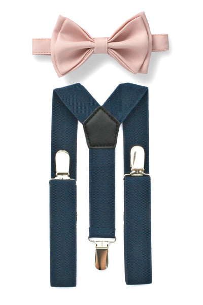 Navy Suspenders & Blush Bow Tie