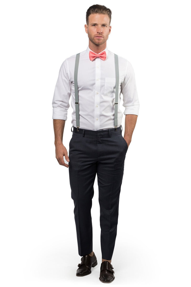 Light Gray Suspenders & Coral Bow Tie