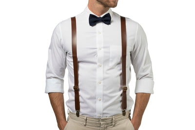 Brown Leather Suspenders & Navy Bow Tie