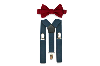 Navy Suspenders & Burgundy Bow Tie for Kids