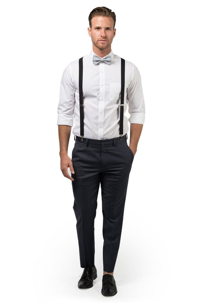 Black Suspenders & Gingham Gray Bow Tie