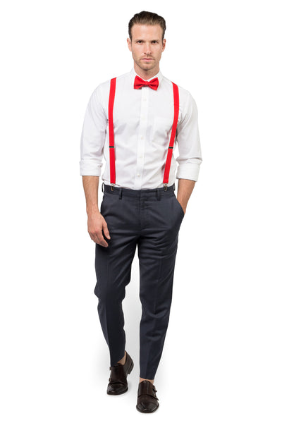 Red Suspenders & Red Bow Tie