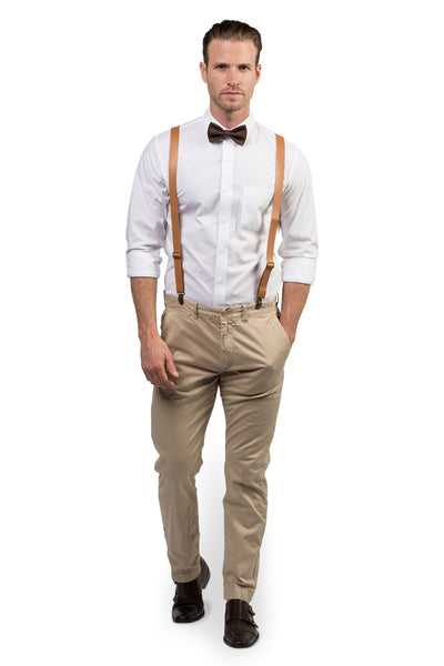 Tan Leather Suspenders & Brown Bow Tie