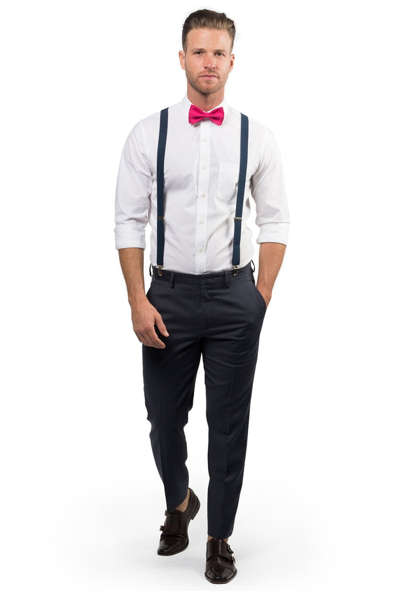 Navy Suspenders & Hot Pink Bow Tie