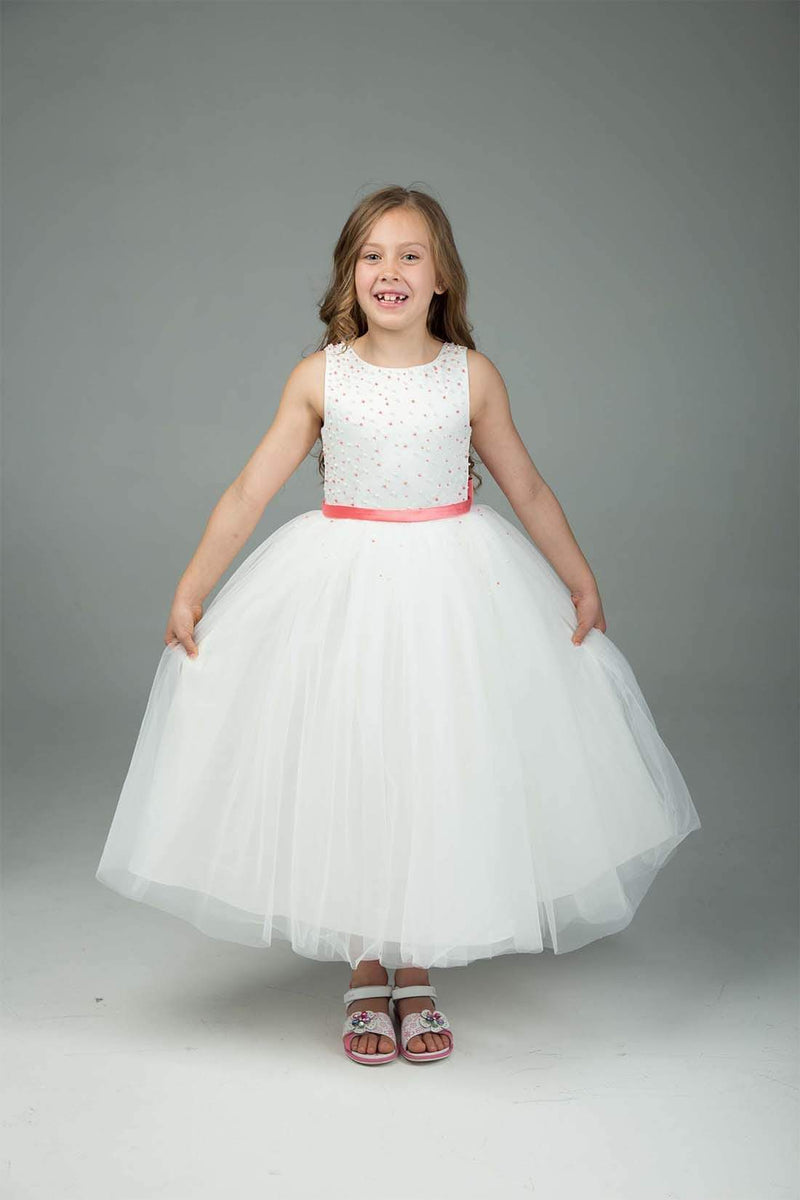 Coral & White Flower Girl Dress