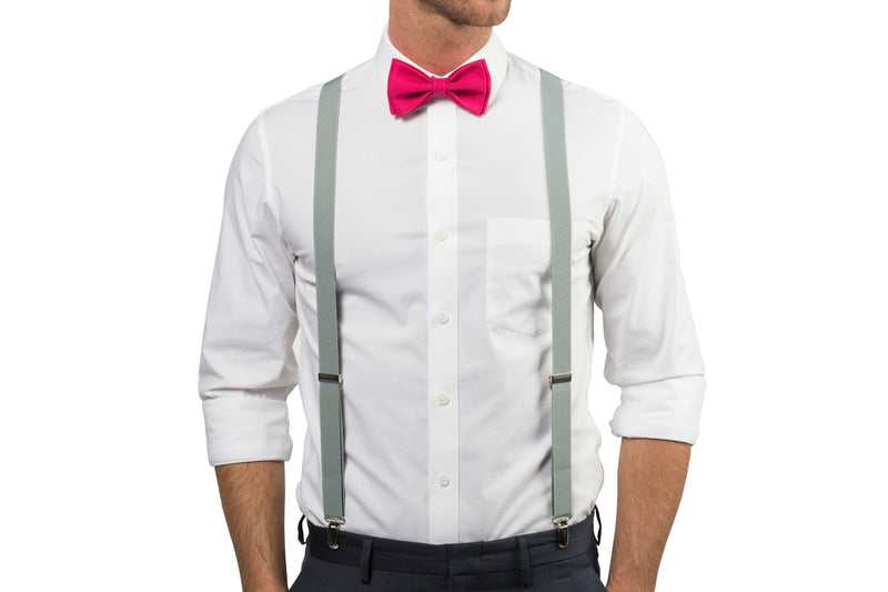 Light Gray Suspenders & Hot Pink Bow Tie