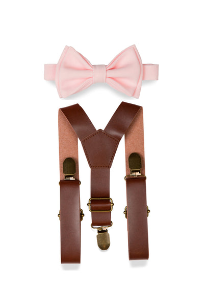 Brown Leather Suspenders & Light Pink Bow Tie for Kids