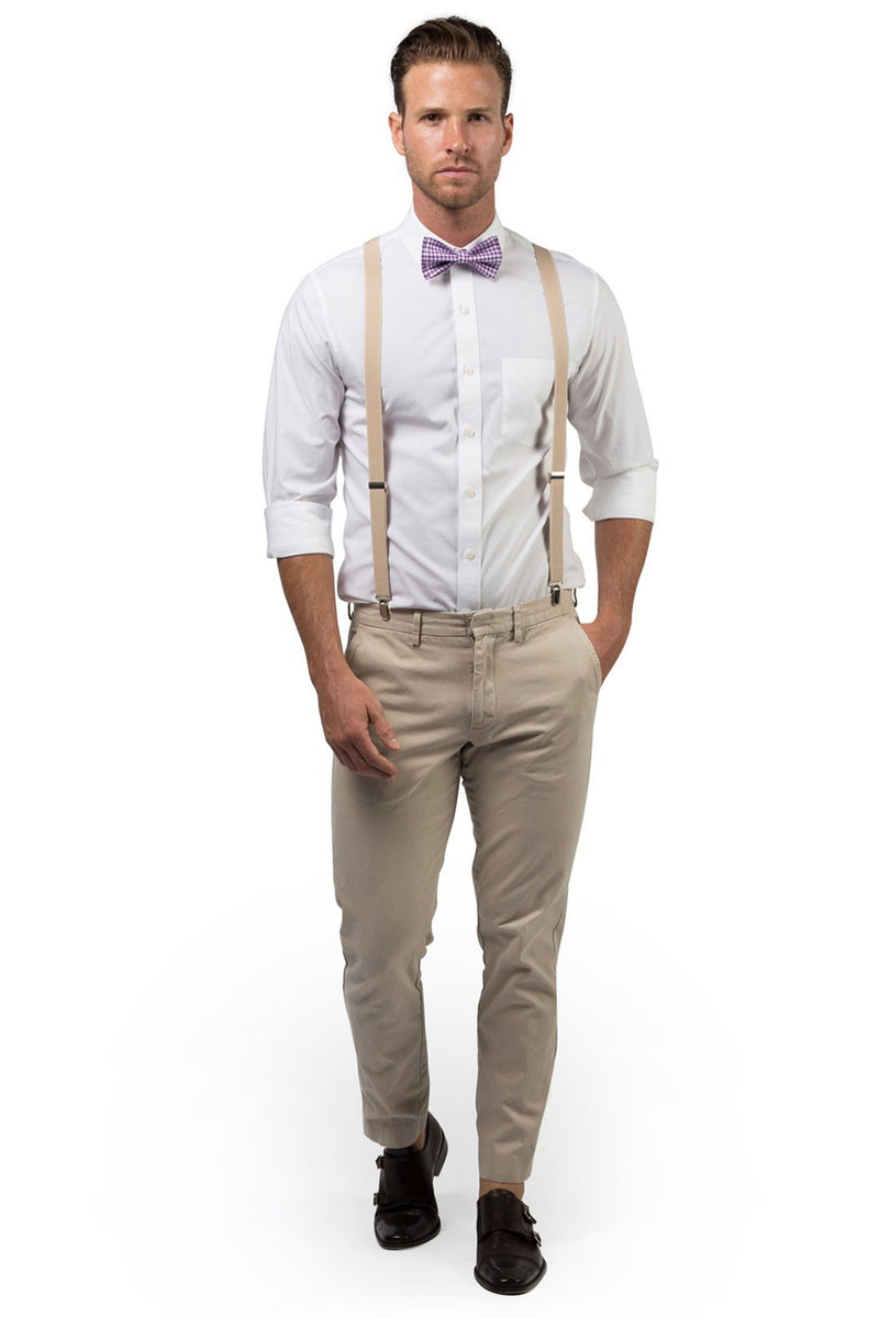 Beige Suspenders & Gingham Purple Bow Tie