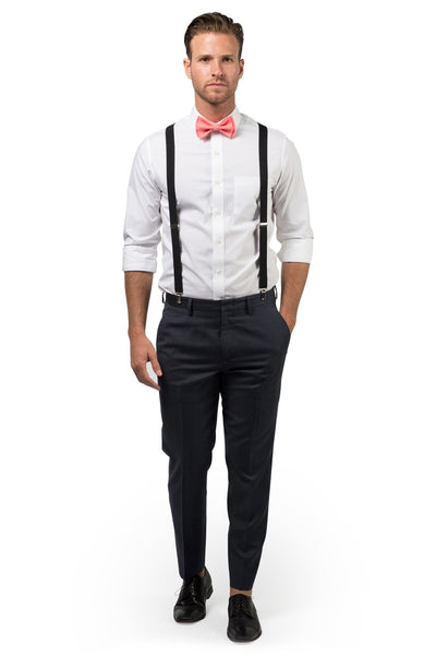 Black Suspenders & Coral Bow Tie