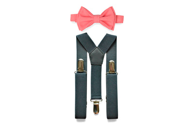 Charcoal Gray Suspenders & Coral Bow Tie
