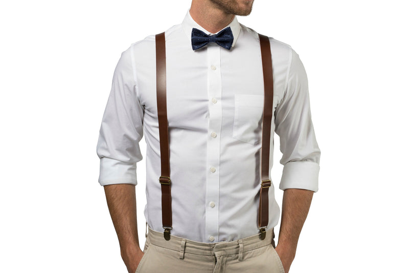 Brown Leather Suspenders & Navy Polka Dot Bow Tie
