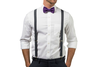 Charcoal Suspenders & Dark Purple Bow Tie