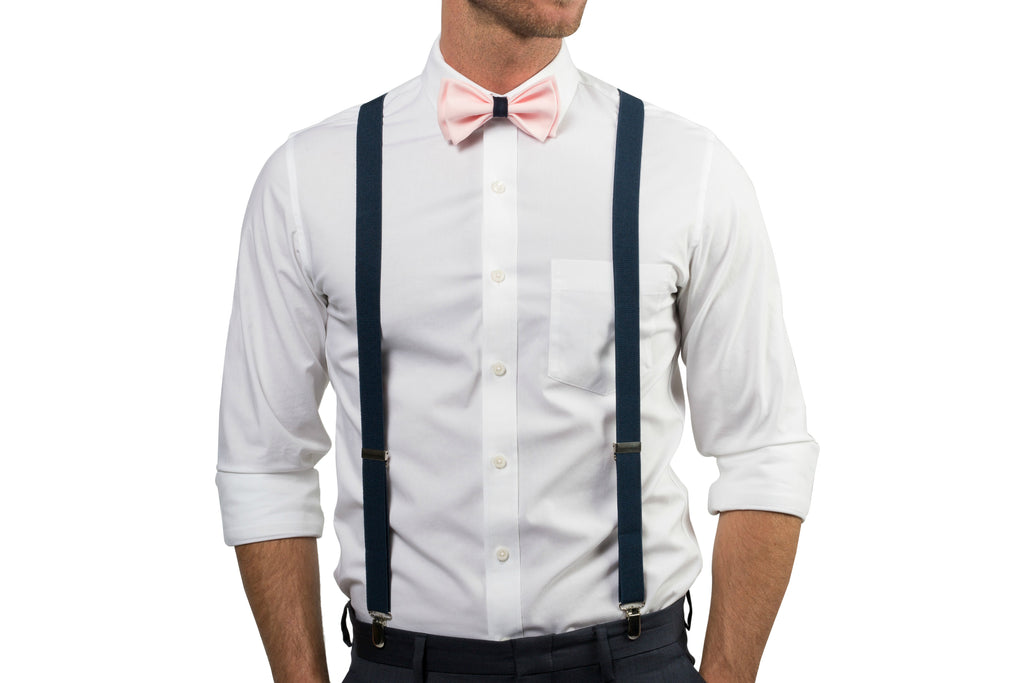 Blush Bow Tie with Navy Loop - ARMONIIA