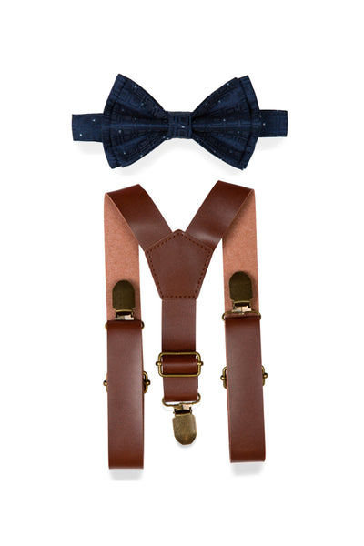 Brown Leather Suspenders & Navy Polka Dot Bow Tie for Kids