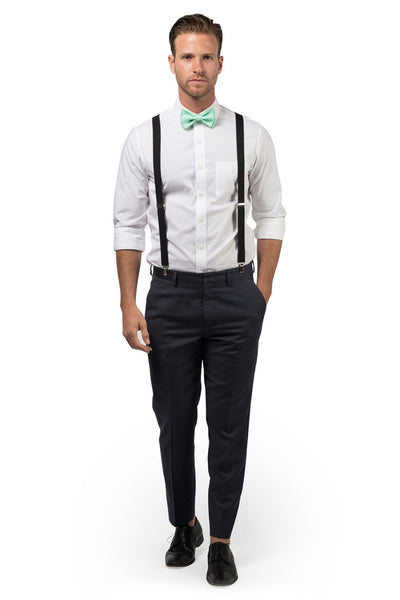 Black Suspenders & Mint Bow Tie