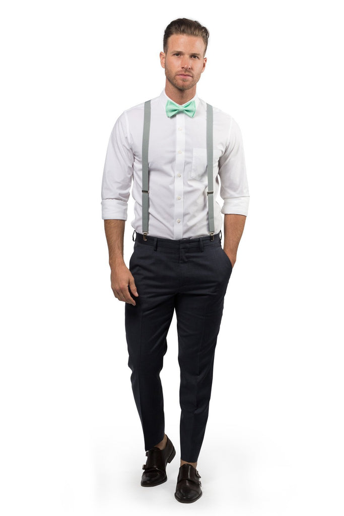 Light Gray Suspenders & Mint Bow Tie