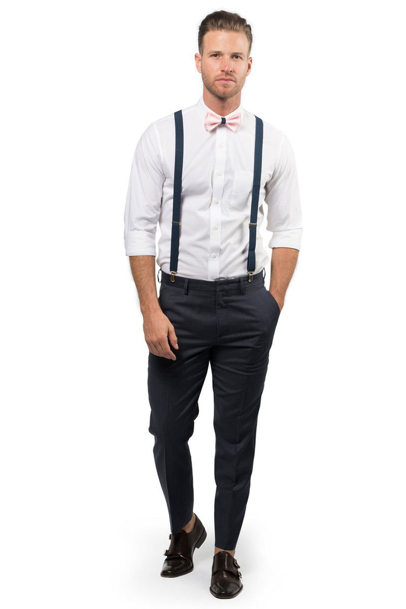 Navy Suspenders & Blush with Navy Bow Tie