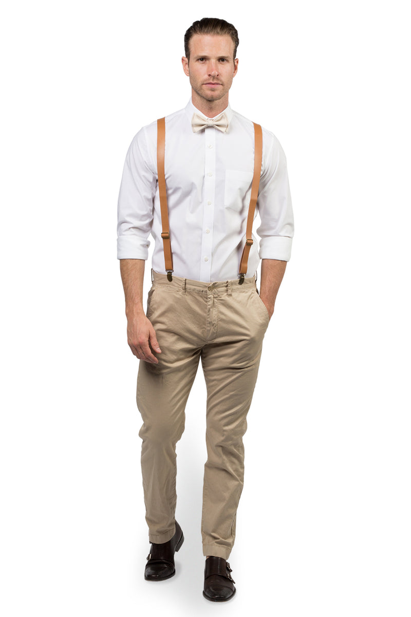 Tan Leather Suspenders & Cream Bow Tie