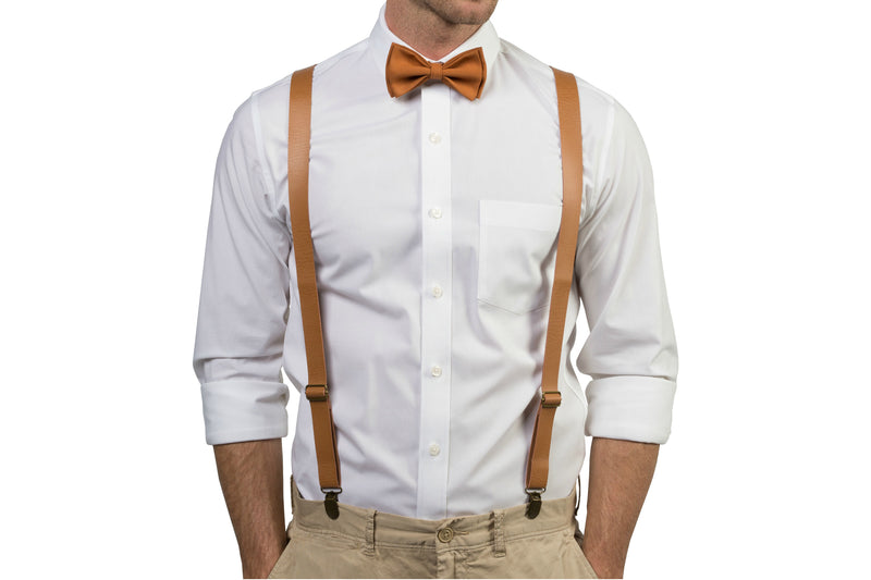 Tan Leather Suspenders & Copper Bow Tie