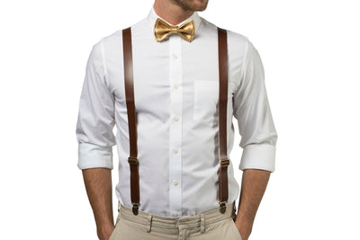 Brown Leather Suspenders & Gold Bow Tie