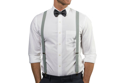 Light Gray Suspenders & Charcoal Bow Tie