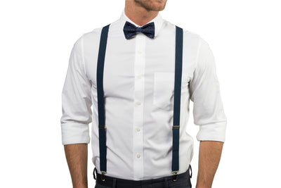 Navy Suspenders & Navy Polka Dot Bow Tie