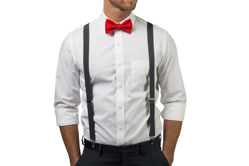 Charcoal Suspenders & Red Bow Tie