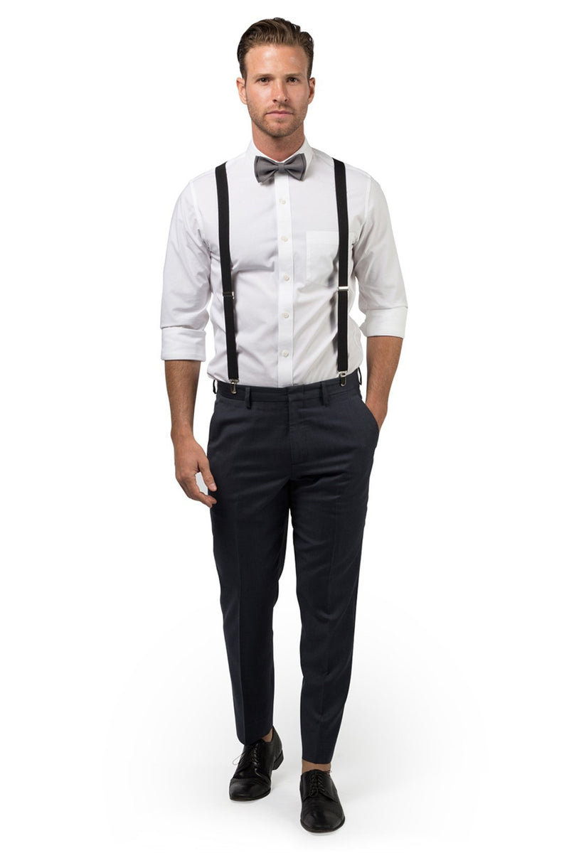 Black Suspenders & Gray Bow Tie