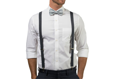 Charcoal Suspenders & Gingham Gray Bow Tie