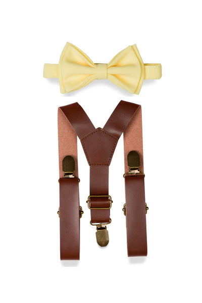 Brown Leather Suspenders & Yellow Bow Tie for Kids