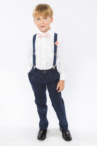 Navy Suspenders & Pink Bow Tie for Kids