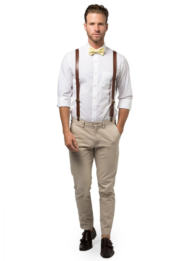 Brown Leather Suspenders & Yellow Bow Tie