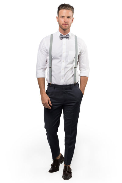 Light Gray Suspenders & Silver Polka Dot Bow Tie