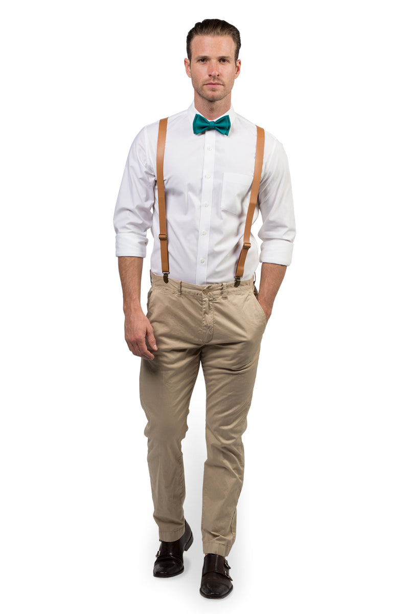 Tan Leather Suspenders & Teal Bow Tie