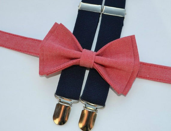 Navy Suspenders & Strawberry Red Bow Tie