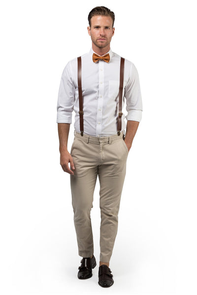 Brown Leather Suspenders & Copper Bow Tie - ARMONIIA
