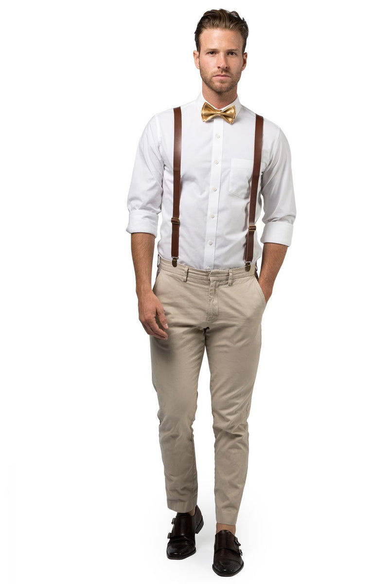 Brown Leather Suspenders & Gold Bow Tie - ARMONIIA