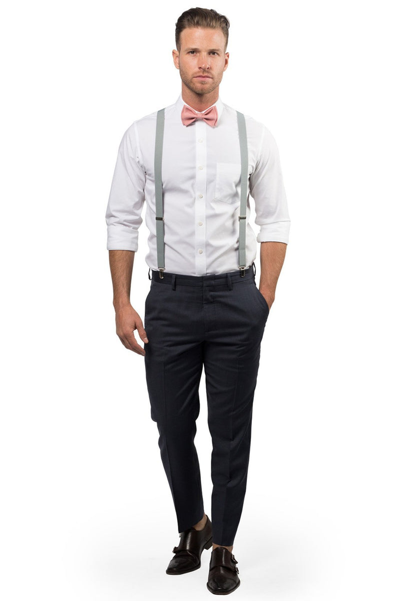 Light Gray Suspenders & Dusty Rose Bow Tie - ARMONIIA