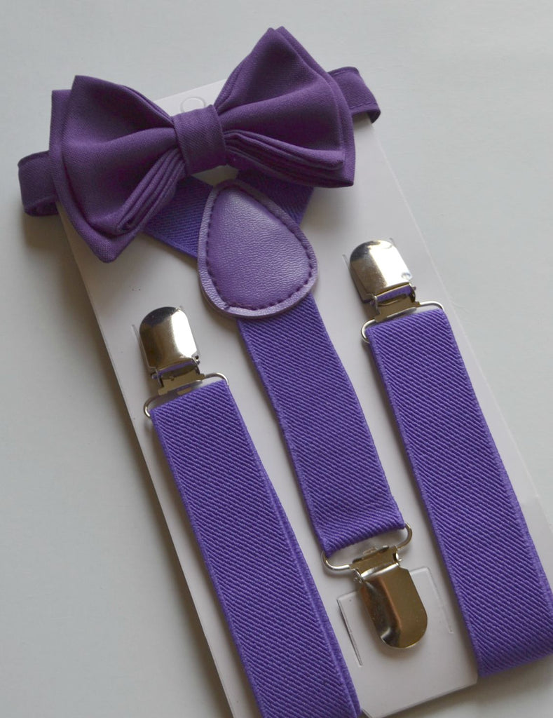 Purple Suspenders & Dark Purple Bow Tie