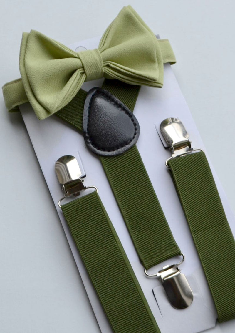 Hunter Green Suspenders & Sage Bow Tie