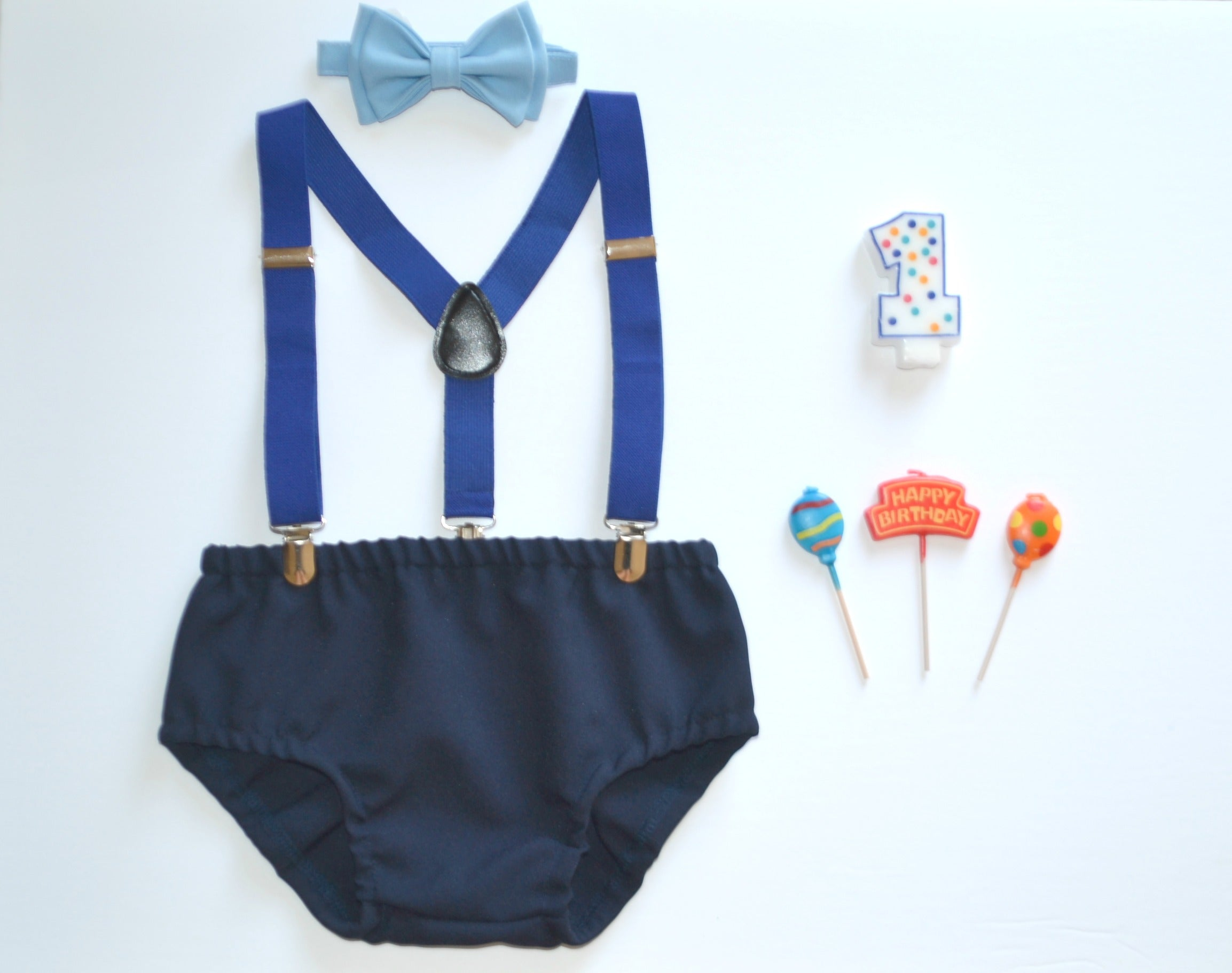 05b3c9e5c655 Royal Blue Suspenders & Baby Blue Bow Tie for Baby | Armoniia