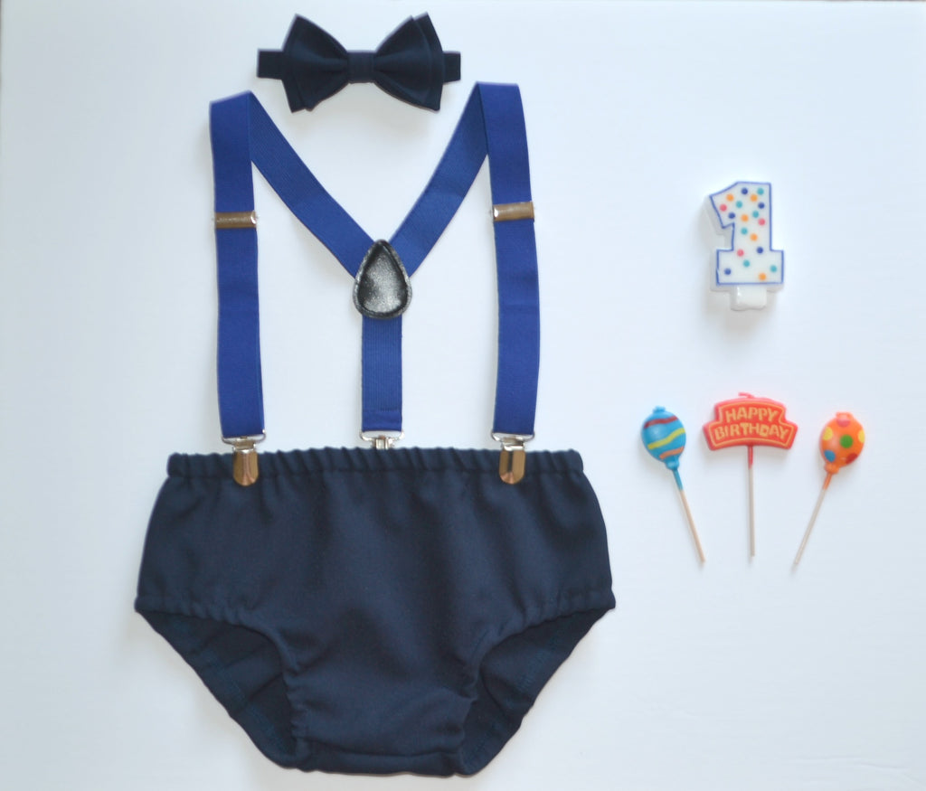 Royal Blue Suspenders & Navy Blue Bow Tie & Navy Diaper Cover