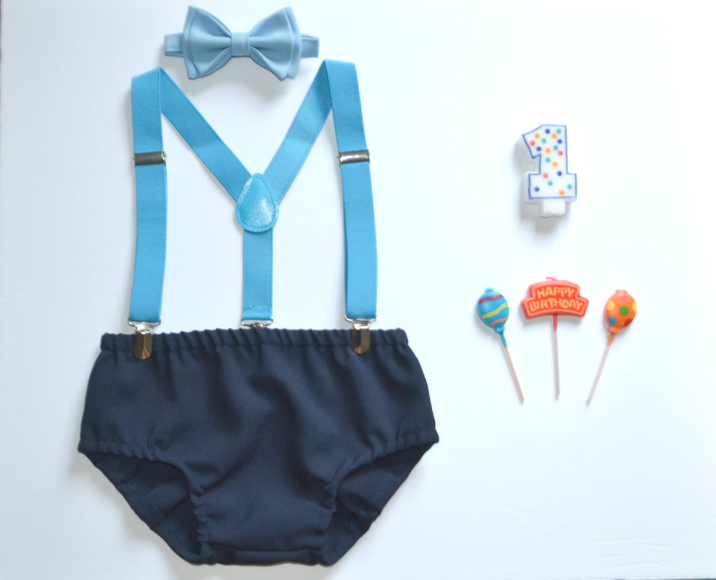 Sky Blue Suspenders & Baby Blue Bow Tie & Navy Diaper Cover