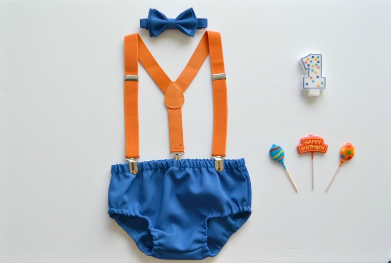 Orange Suspenders & Royal Blue Bow Tie & Royal Blue Diaper Cover