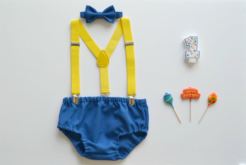 Yellow Suspenders & Royal Blue Bow Tie for Baby